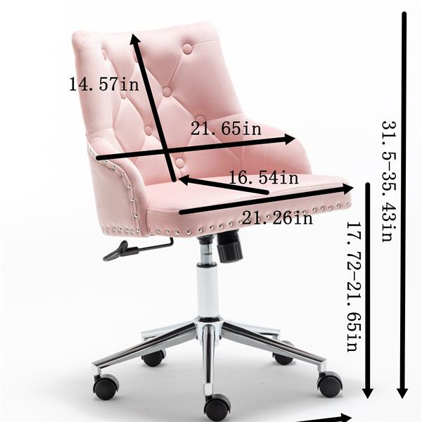 Furniture Home High Back Office Chair with pull ring, Modern Design Velvet Desk Task Chair with Arms in Study Bedroom (Grey)