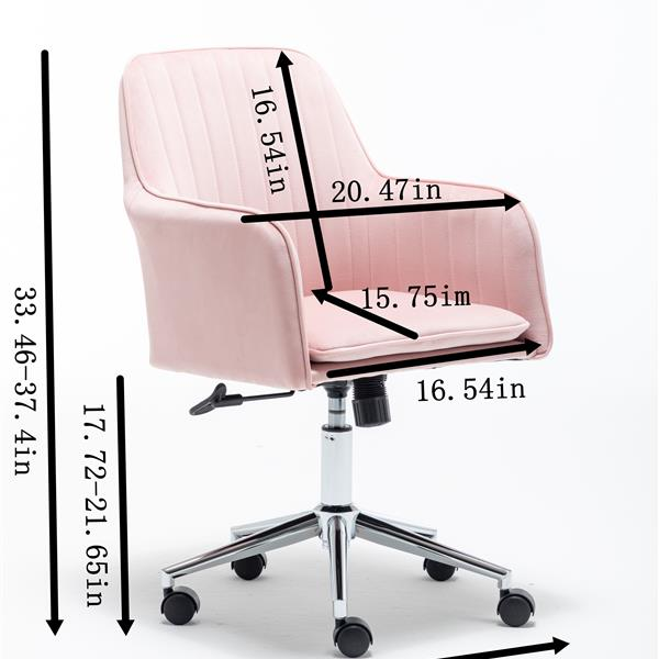 Velvet fabric Home Office Desk  Chair with Metal Base Modern Adjustable Swivel Chair with Arms  (Pink)