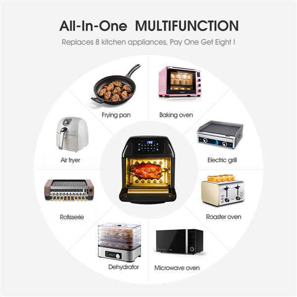 Yeeyo Electric Air Fryer Rotisserie Oven,,10-in-1 Fryer 12 Litre 1500W for Home Use, Includes 10 Cooking Presets, Recipe Book & Cooker Accessories
