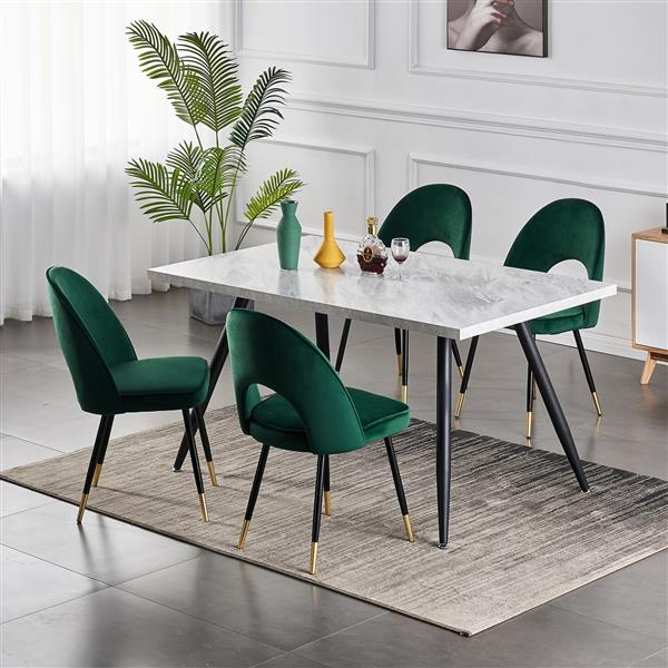 Set of 2-dining-chair-kitchen-chairs-living-room-chair-dining-chair-made of velvet green