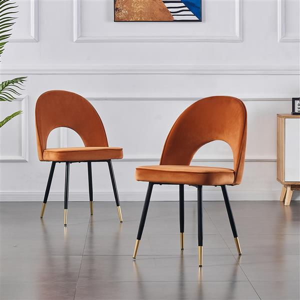 Set of 2-dining-chair-kitchen-chairs-living-room-chair-dining-chair-made of velvet orange