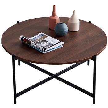 """Modern Round coffee table,Black color frame with walnut top-36"""""""