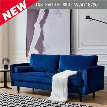 """Mid-Century Modern Velvet fabric Bench Sectional Couch Sofa, 79""""W Blue"""