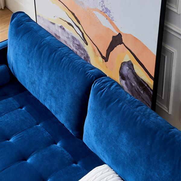 "Mid-Century Modern Velvet fabric Bench Sectional Couch Sofa, 79""W Blue"