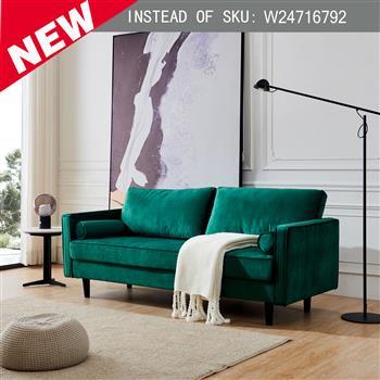"""Mid-Century Modern Velvet fabric Bench Sectional Couch Sofa, 79""""W Emerald"""