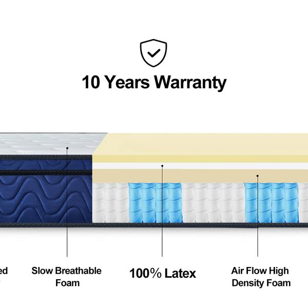 LANKOU 10 inch Nature Latex Hybrid Pocket Sprung Mattress Media firm with Multi-Functional 9-Zone Support System -Medium Firm 4FT6 Size (137*191cm)