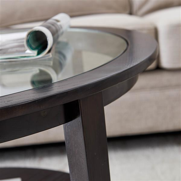 """Modern Solid wood round coffee table with tempered glass top black color-36"""""""