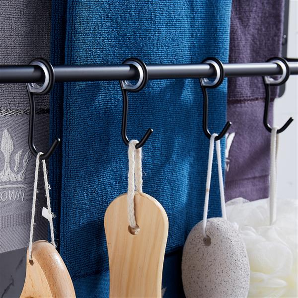 THREE Stagger Layers Towel Rack Upgraded with SIX Movable Hooks Stainless Steel Towel Bars Bathroom Accessories Set for Hanging Bath Sponge and Towels Matte Black 17.72 inches KJWY005HEI-45CM