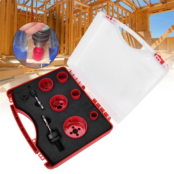 9 Pcs Hole Saw Kit General Purpose Saw Kit 7/8in~2-1/2in with Guide Drill Adapter Set