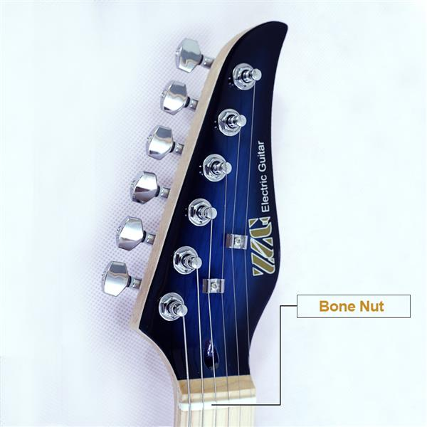 New style electric guitar basswood body maple neck maple fingerboard alnico pick up black turn blue color good quality