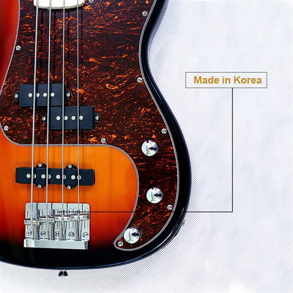 New style 4 string electric bass basswood body maple neck maple fingerboard alnico pick up sunburst color good quality
