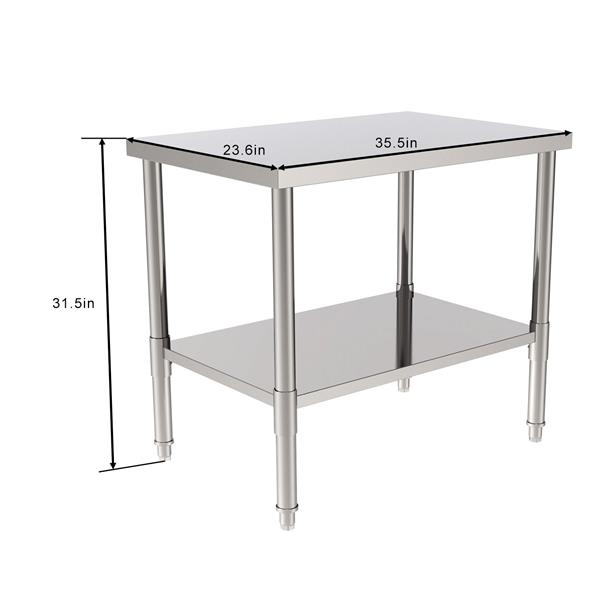 "36"" Stainless Steel Galvanized Work Table (without Back Board)"