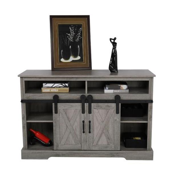 FCH Sliding Barn Door Cabinet TV Stand with Open Shelves & Adjustable Side Shelf Gray