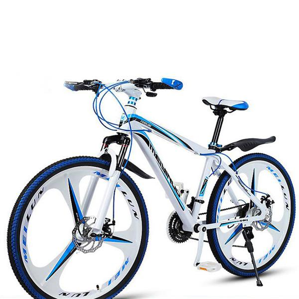 New white python-shaped mountain bike 26 inch single wheel double disc brake road bike