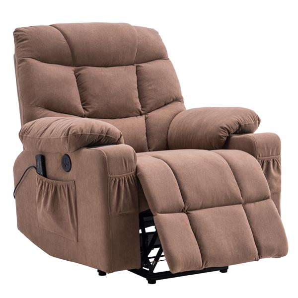 Type B electric lift function chair with massage cup holder brown cloth art combination