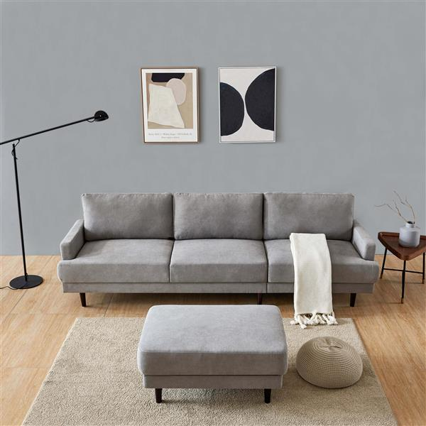 "Modern fabric sofa L shape, 3 seater with ottoman-104"" Gray"