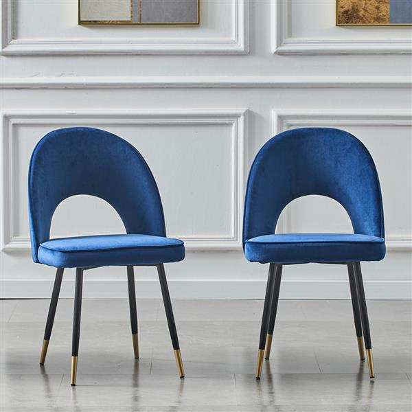 Set of 2-dining-chair-kitchen-chairs-living-room-chair-dining-chair-made of velvet blue