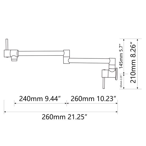 """Brass Folding Faucet 1/2""""NPT Wall Mount Kitchen Faucet Two Handles Cold Water Tap Black"""