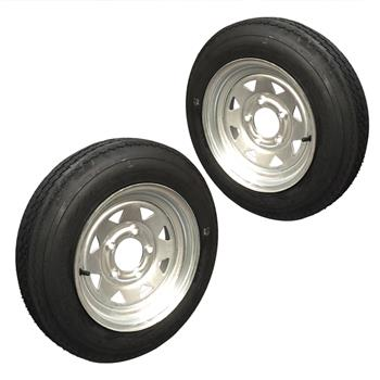 Pair of Trailer Tire P811 Galvanized RIM 4.8-12 4PR 4lug