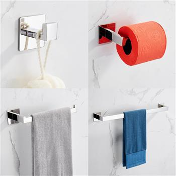 Strong Viscosity Adhesive 4 Pieces Bathroom Accessories Set Without Drilling Silver Brushed Towel Bar Set Holder Rack Robe Hook Tissue Toilet Paper Holder Rustproof 304 Stainless Steel KJ715PRO-4YIN