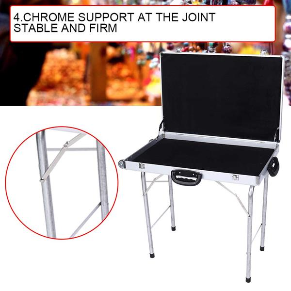 Aluminum Alloy Jewelry Storage Suitcase Foldable Display Case with Handles Wheels 50CM Tripod