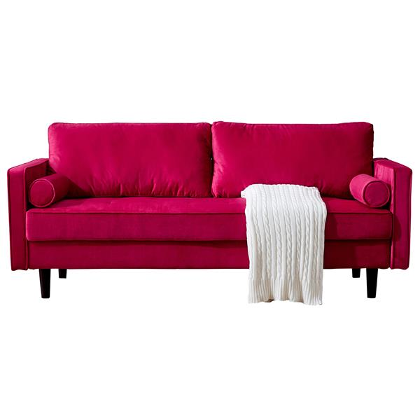 """Mid-Century Modern Velvet fabric Bench Sectional Couch Sofa, 79""""W Red (Additional distribution of a pair of handrails, limited in quantity)"""