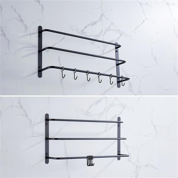 THREE Stagger Layers Towel Rack Upgraded with SIX Movable Hooks Stainless Steel Towel Bars Bathroom Accessories Set for Hanging Bath Sponge and Towels Matte Black 23.62 inches KJWY005HEI-60CM