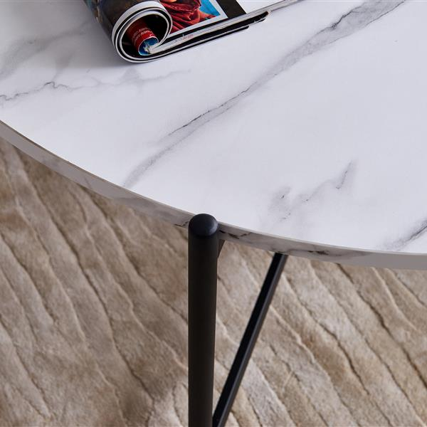 """Modern Nesting coffee table,Black color frame with marble top-36"""""""