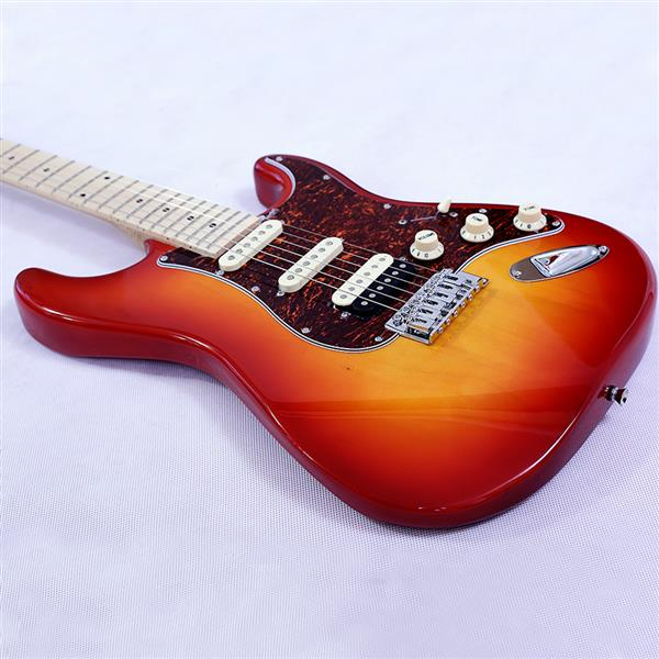 New style ST electric guitar basswood body maple neck maple fingerboard SSH alnico pick up red turn yellow color good quality