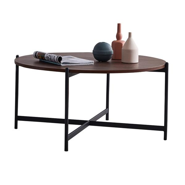 Modern Round coffee table,Black color frame with walnut top-36""