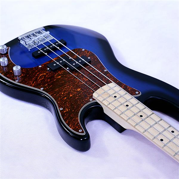 New style 4 string electric bass basswood body maple neck maple fingerboard alnico pick up black turn blue color good quality