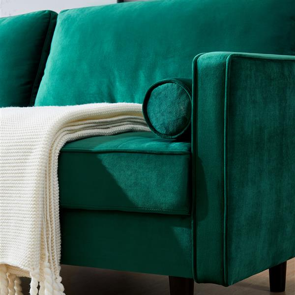 """Mid-Century Modern Velvet fabric Bench Sectional Couch Sofa, 79""""W emerald  (Additional distribution of a pair of handrails, limited in quantity)"""