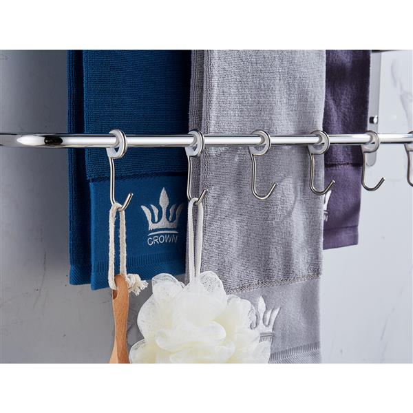 THREE Stagger Layers Towel Rack Upgraded with SIX Movable Hooks Stainless Steel Towel Bars Bathroom Accessories Set for Hanging Bath Sponge and Towels Bright Polishing 23.62 inches KJWY005YIN-60CM