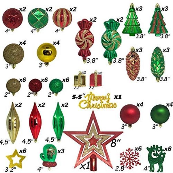 88 Piece Assorted Christmas Tree Ornaments Set, Shatterproof Balls Xmas Seasonal Decorative Hanging Baubles Set with Reusable Hand-held Gift for Holiday Xmas Tree Decorationsr (red+greend+Golden)