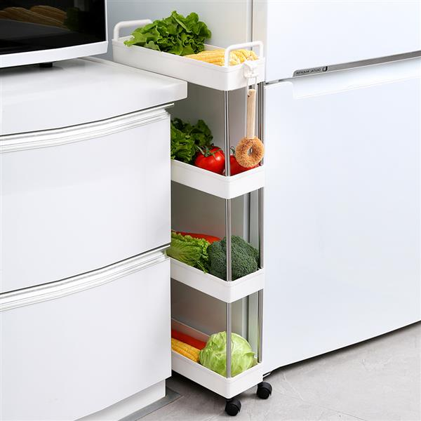 Storage Cart 4-Tier Slim Mobile Shelving Unit Rolling Bathroom Carts with Handle for Kitchen Bathroom Laundry Room Narrow Places, white