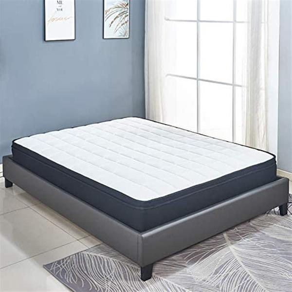 Cool Blue Memory Foam Hybrid Sprung Mattress with Breathable Fabric with Springs,10 Inch Depth Medium firm feel Pillow Top /30 Days Risk-Free Nights Trial 5FT ( 153*191CM)