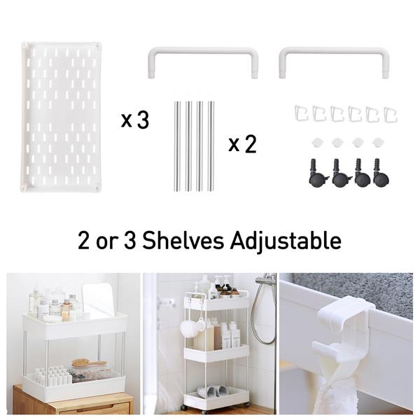 Rolling Storage Cart 3-Tier Mobile Shelving Unit Bathroom Carts with Handle for Kitchen Bathroom Laundry Room