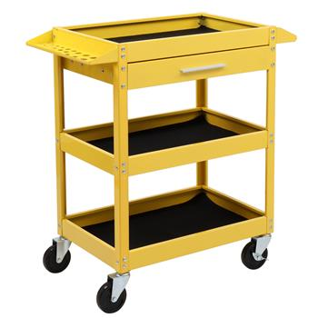 Service Tool Cart Tool Organizers, 330 LBS Capacity 3-Tray Rolling Utility Cart Trolley with Drawer, Industrial Commercial Service Cart, Mobile Storage Cabinet Organizer Dollies