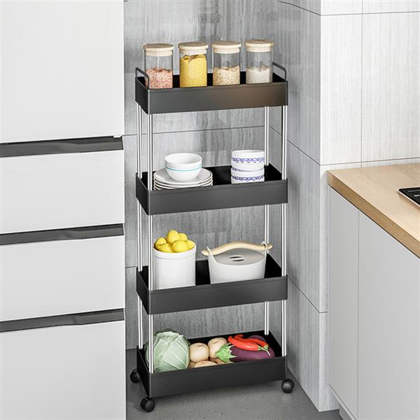 Storage Cart 4-Tier Slim Mobile Shelving Unit Rolling Bathroom Carts with Handle for Kitchen Bathroom Laundry Room Narrow Places, Black