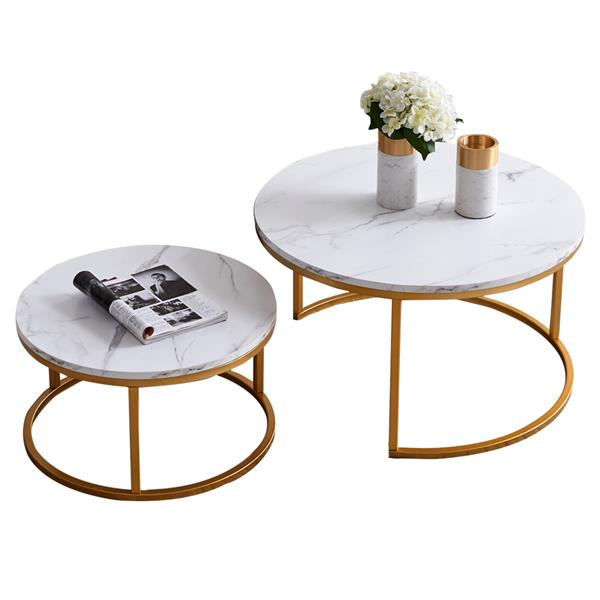 """Modern Nesting coffee table,golden color frame with marble wood top-32"""""""