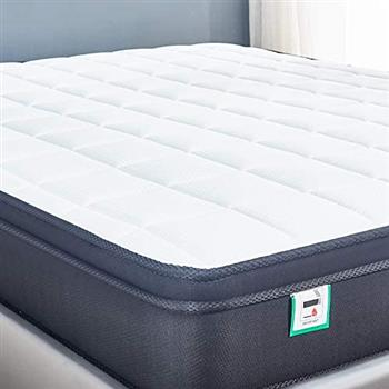 Cool Blue Memory Foam Hybrid Sprung Mattress with Breathable Fabric with Springs,10 Inch Depth Medium firm feel Pillow Top /30 Days Risk-Free Nights Trial 4FT6 ( 137*191CM)