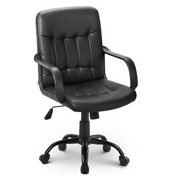Office chair imitation leather Office chair height adjustable swivel chair for office / living room, black