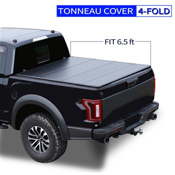 6.5' Hard Quad-Fold Tonneau Cover For Ford F-150 Truck Bed 2015-2020