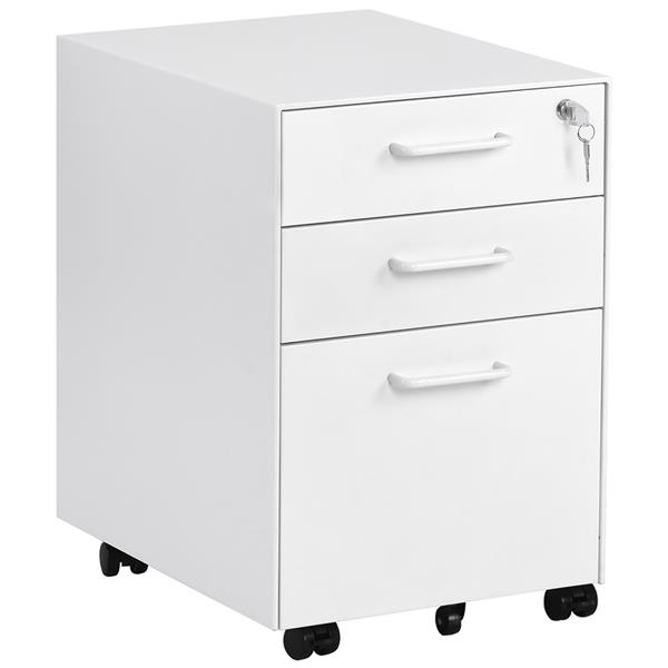 Filing Cabinet Steel Lockable File Container with 3 Drawers & Wheels Papers Storage Cupborad for Home Office