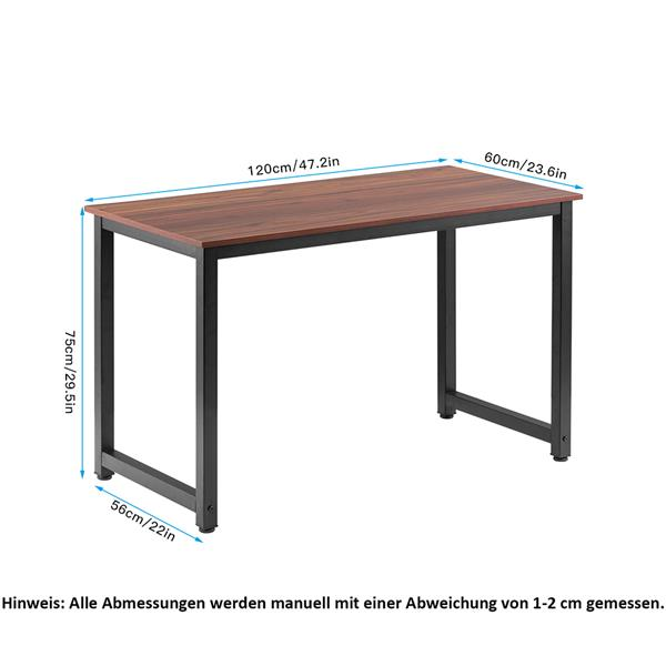 Computer Table Rectangular Office Desk with Adjustable Feet PC Table Worktable for Home Office, Red Brown