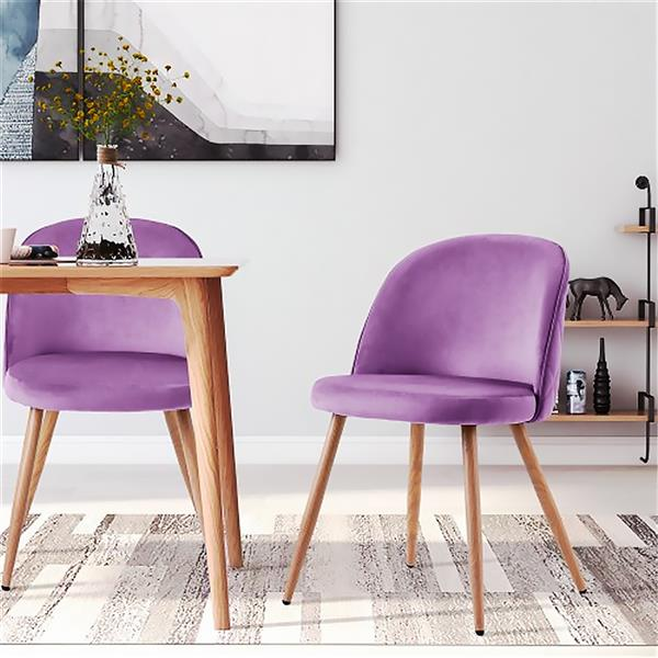 Dining room chair Living room chair Upholstered chair Lounge chair Velvet Kitchen chair Soft seat and back with wooden metal legs, set of 2, purple