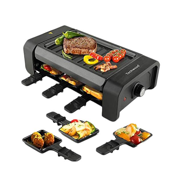 Techwood Raclette Grill Electric Tabletop Raclette Grill Non-Stick Grilling Surface Adjustable Temperature