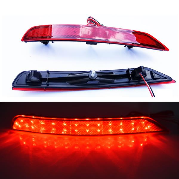 LED Rear Bumper Reflector Brake Lights for 2009-2018 Subaru Forester (Red Lens)