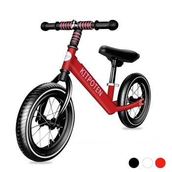 KITPOTEN Balance Bike for 4 Year Old Boy & Girl, 12 Inch High-Carbon Zinc-Plated Balance to Pedal Bike, Eco-Friendly Soft Widen Pneumatic Tire, Balancing Bike with Stainless Steel Iron Rim-Red-LIMITED