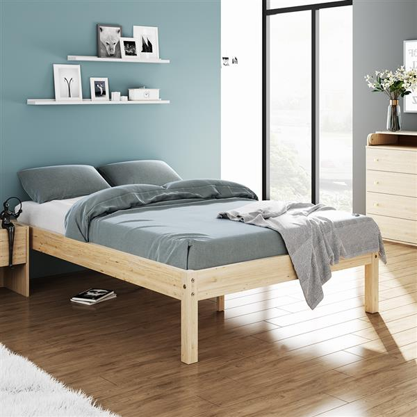 Bed Frame Wooden Slatted Double Bed Base with Wood Legs Rustic Mattress Support Plateform for Bedroom